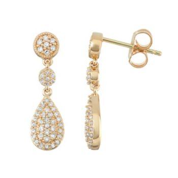 14k Gold 1/3 Carat T.W. Diamond Teardrop Earrings