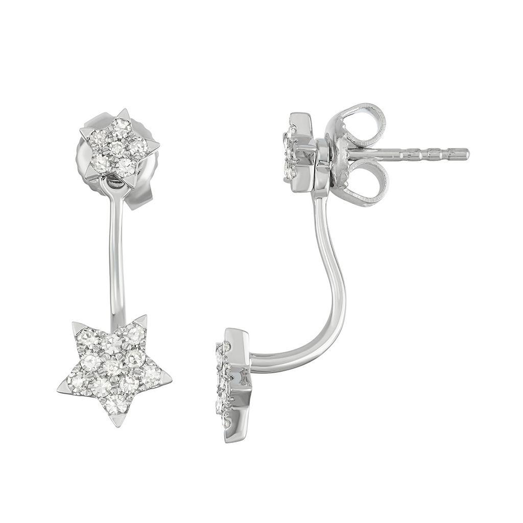 14k White Gold 1/3 Carat T.W. Diamond Star Jacket Earrings