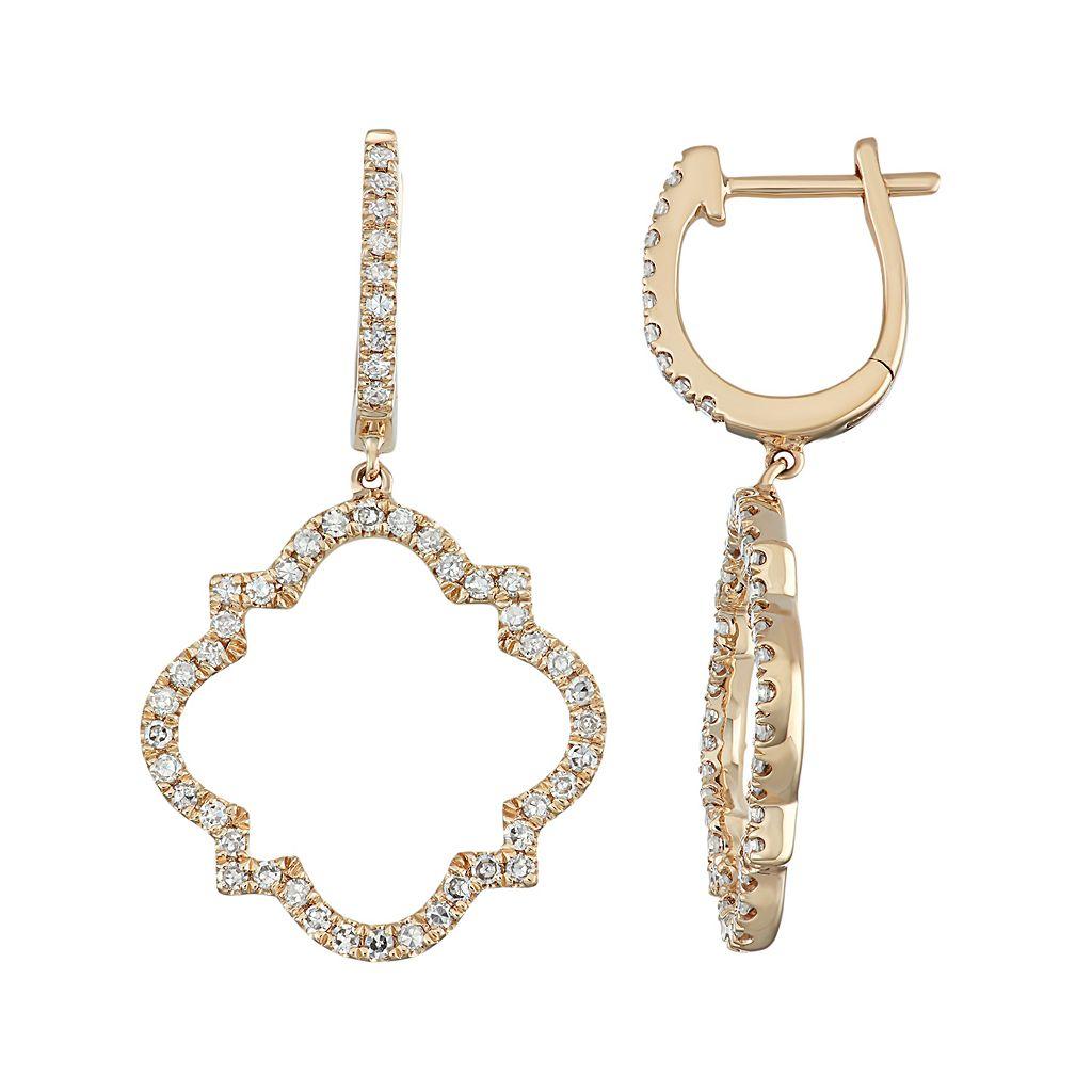 14k Rose Gold 1/2 Carat T.W. Diamond Quatrefoil Drop Earrings