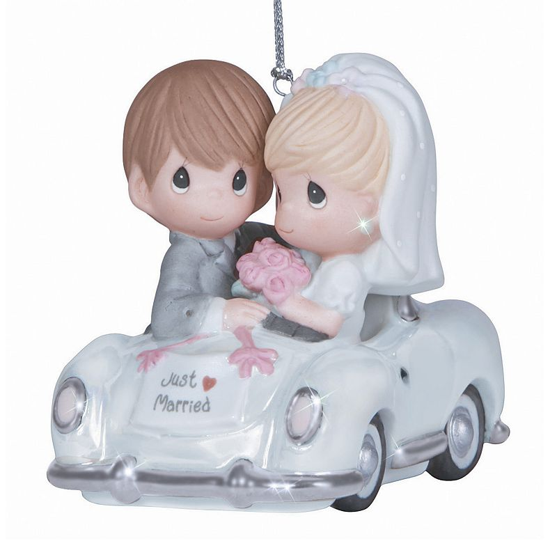 Precious Moments  Just Married  Couple Christmas Ornament Celebrate your wedding day this holiday season with this Precious Moments couple Christmas ornament. Silver-tone accents Attached loop for hanging 2.76''H x 2.17''W x 3.15''D Porcelain Wipe clean Model no. 131008  Size: One Size. Color: Multicolor. Gender: unisex. Age Group: adult.