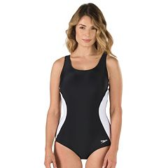 Women's Speedo Illusion Splice Colorblock Ultraback One-Piece Swimsuit