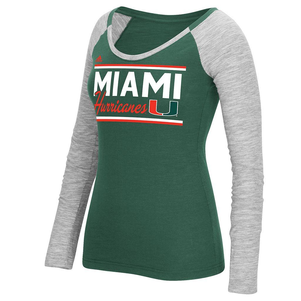 Women's adidas Miami Hurricanes Double Color Tee