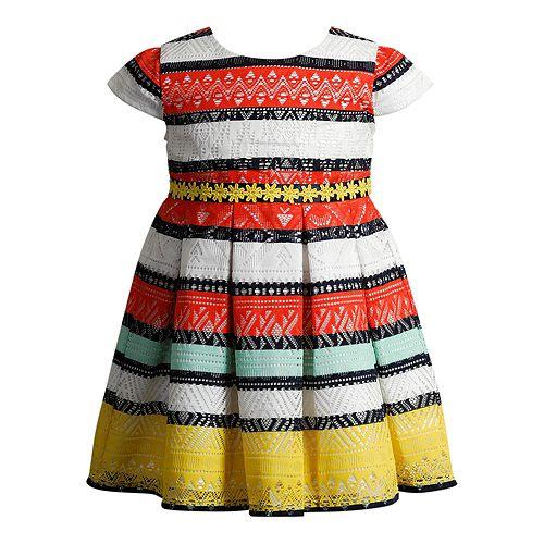Girls 4-6x Youngland Crochet Lace Striped Dress