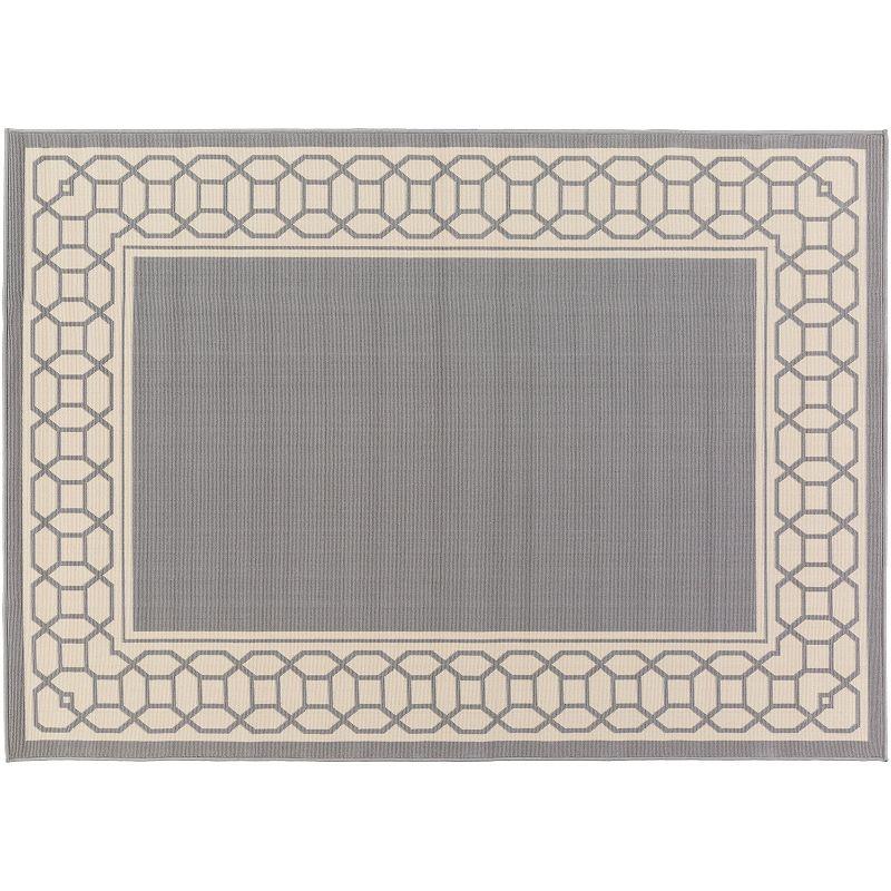 Decor 140 Keene Framed Trellis Indoor Outdoor Rug, Grey, 4X5 Ft