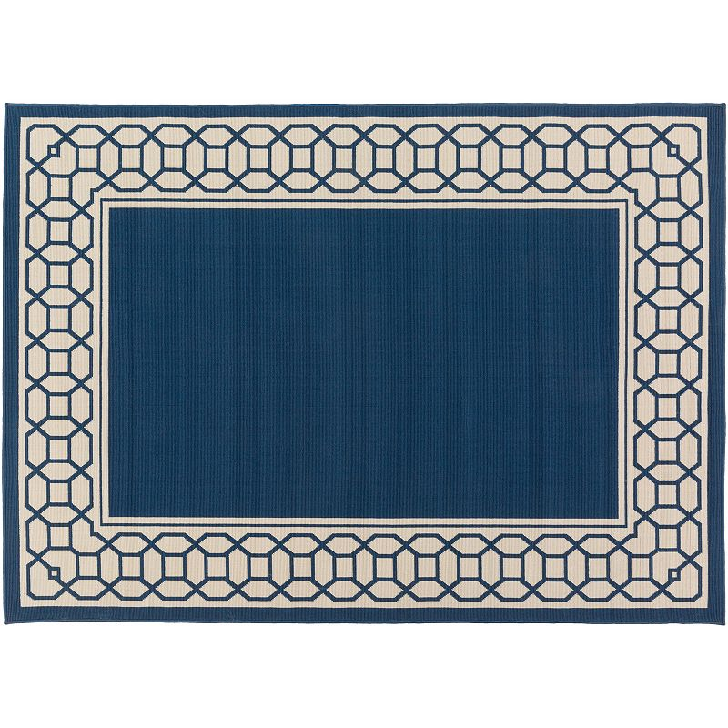 Decor 140 Keene Framed Trellis Indoor Outdoor Rug, Blue, 8Ft Sq