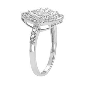 Sterling Silver 1/4 Carat T.W. Diamond Teardrop Ring