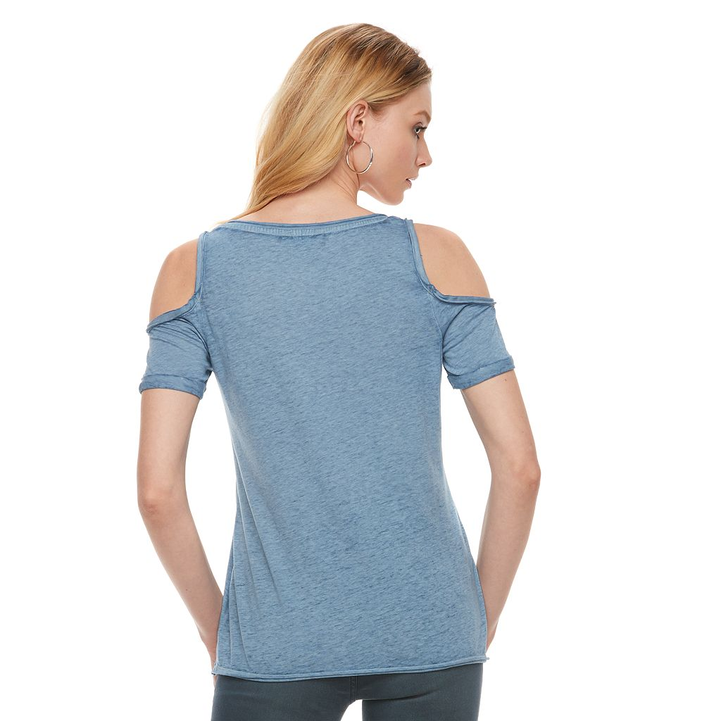 Women's Rock & Republic® Marled Cold-Shoulder Tee