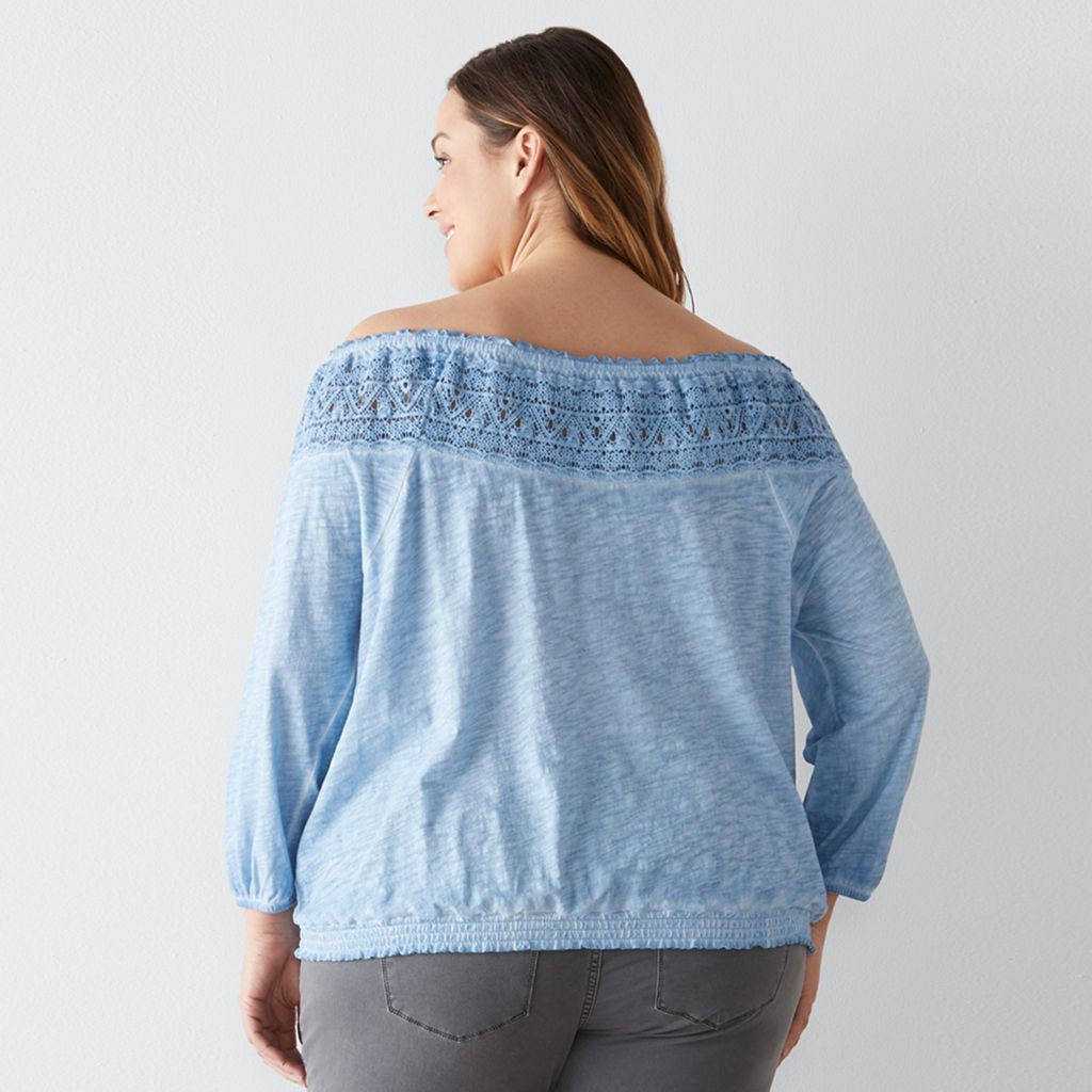 Plus Size SONOMA Goods for Life™ Crochet Off-the-Shoulder Top