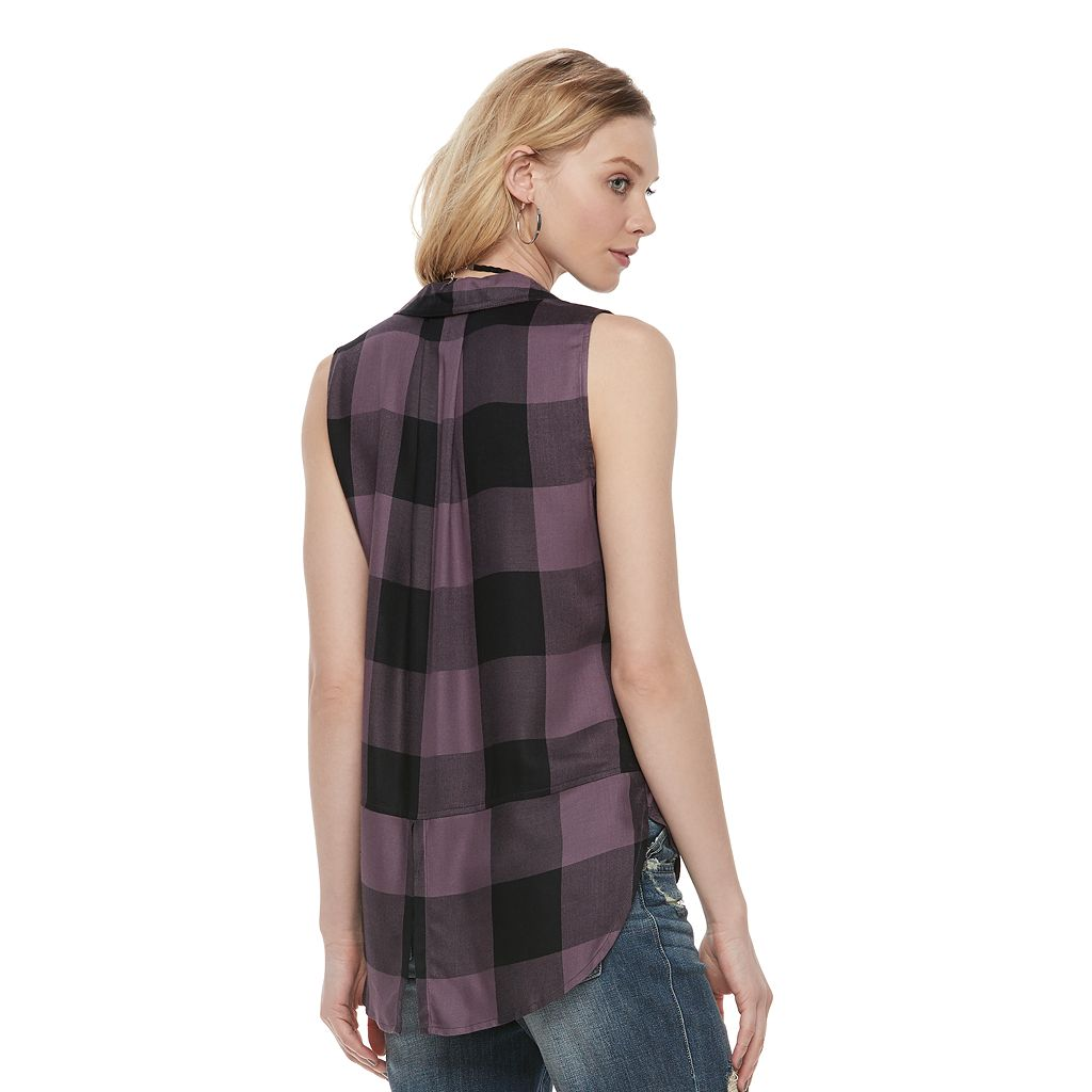 Women's Rock & Republic® High-Low Sleeveless Plaid Shirt