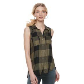 Women's Rock & Republic® High-Low Sleeveless Plaid Shirt
