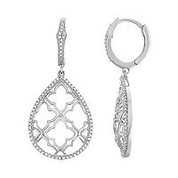 Sterling Silver 1/2 Carat T.W. Diamond Cutout Teardrop Earrings