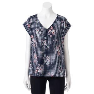Juniors' My Michelle Print Zipper Top