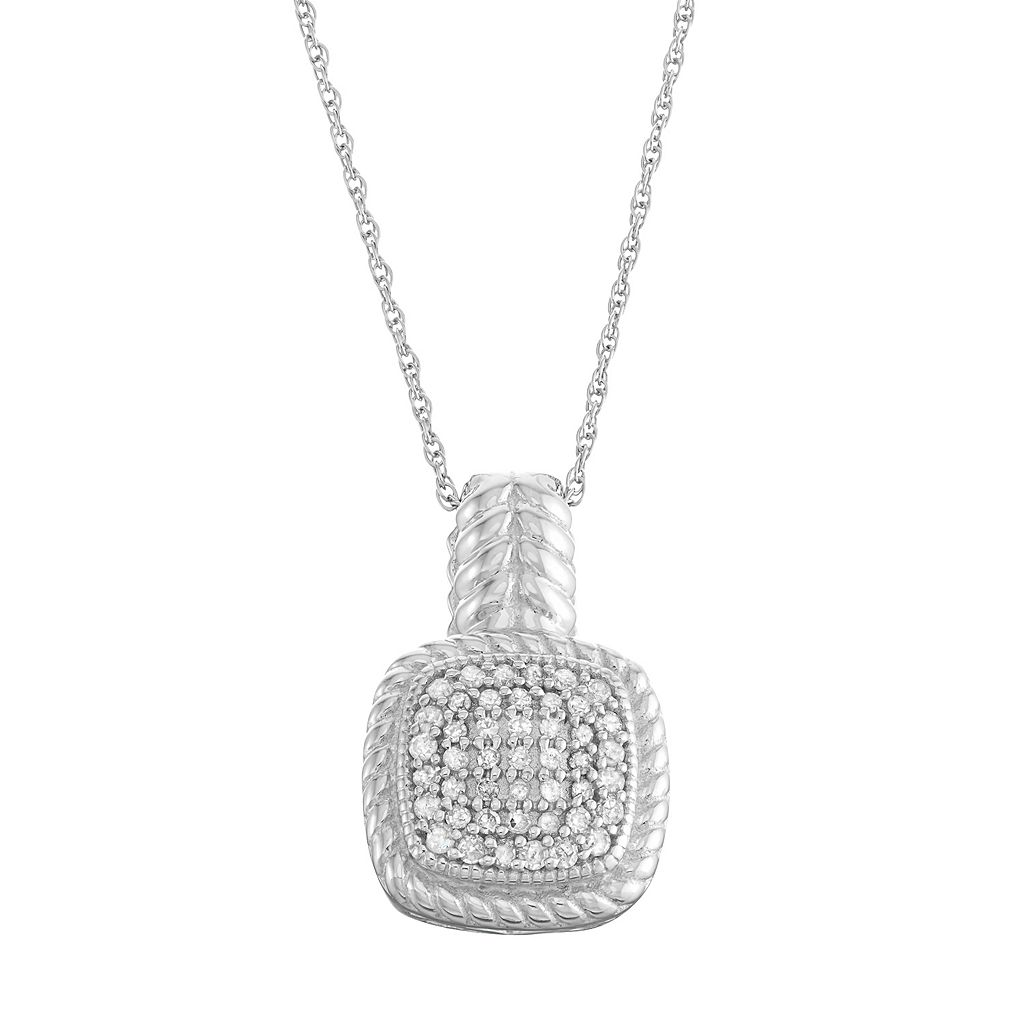 Sterling Silver 1/4 Carat T.W. Diamond Cushion Pendant
