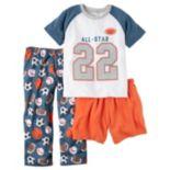 "Baby Boy Carter's ""All-Star"" Tee, Shorts & Pants Pajama Set"
