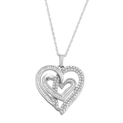 Sterling Silver 1/2 Carat T.W. Diamond Intertwined Heart Pendant