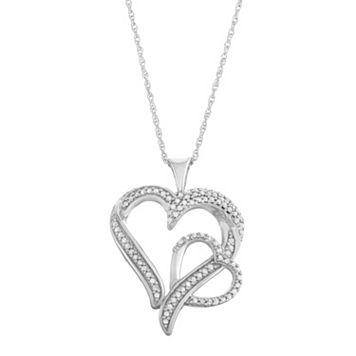 Sterling Silver 1/3 Carat T.W. Diamond Double Heart Pendant