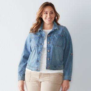 Plus Size SONOMA Goods for Lifeª Crosshatch Jean Jacket