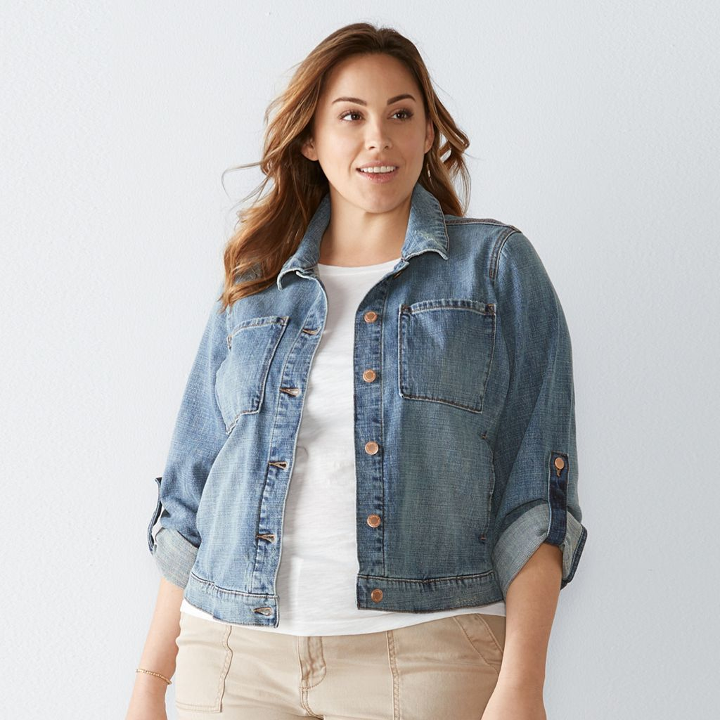 Plus Size SONOMA Goods for Life™ Crosshatch Jean Jacket