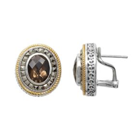 Lavish by TJM Sterling Silver Smoky Quartz Oval Halo Stud Earrings