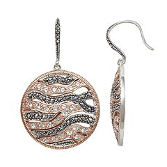 Lavish by TJM Two Tone 18k Rose Gold Over Silver Crystal Wavy Disc Drop Earrings