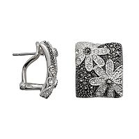 Lavish by TJM Sterling Silver Crystal Flower Square Stud Earrings