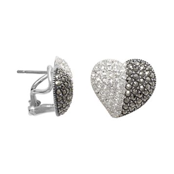 Lavish by TJM Sterling Silver Crystal Heart Stud Earrings