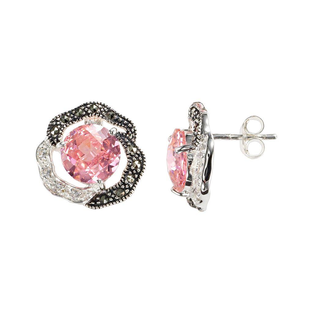 Lavish by TJM Sterling Silver Cubic Zirconia Flower Stud Earrings