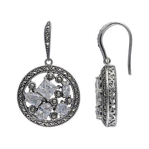 Lavish by TJM Sterling Silver Cubic Zirconia Openwork Disc Drop Earrings