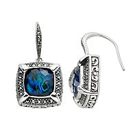 Lavish by TJM Sterling Silver Abalone Doublet Frame Drop Earrings