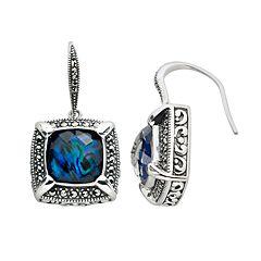 Lavish by TJM Sterling Silver Abalone Doublet Frame Drop Earrings