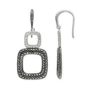 Lavish by TJM Sterling Silver Crystal Square Drop Earrings