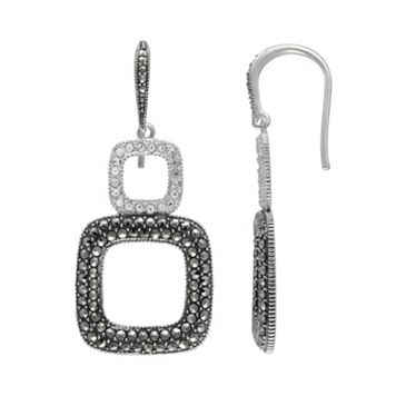 Lavish by TJM Sterling Silver Crystal Square Drop Earrings