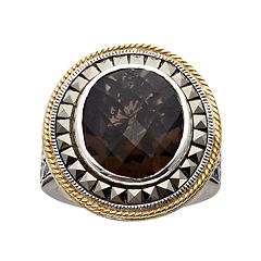 Lavish by TJM Sterling Silver Smoky Quartz Frame Ring