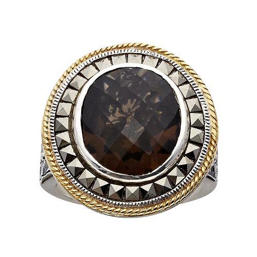 Lavish by TJM Sterling Silver Smoky Quartz Frame Ring