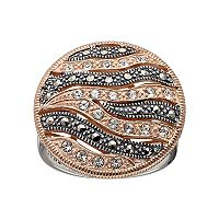 Lavish by TJM Two Tone 18k Rose Gold Over Silver Crystal Wavy Ring