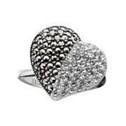 Lavish by TJM Sterling Silver Crystal Heart Ring