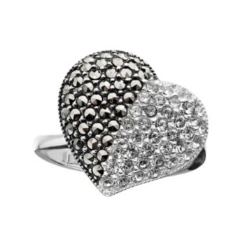 Lavish by TJM Sterling Silver Crystal Heart Ring