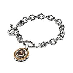 Lavish by TJM Sterling Silver Smoky Quartz Charm Toggle Bracelet