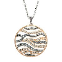 Lavish by TJM Two Tone 18k Rose Gold Over Silver Crystal Circle Pendant Necklace