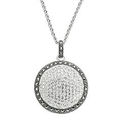 Lavish by TJM Sterling Silver Crystal Dome Pendant Necklace