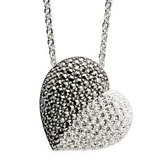 Lavish by TJM Sterling Silver Crystal Heart Pendant Necklace