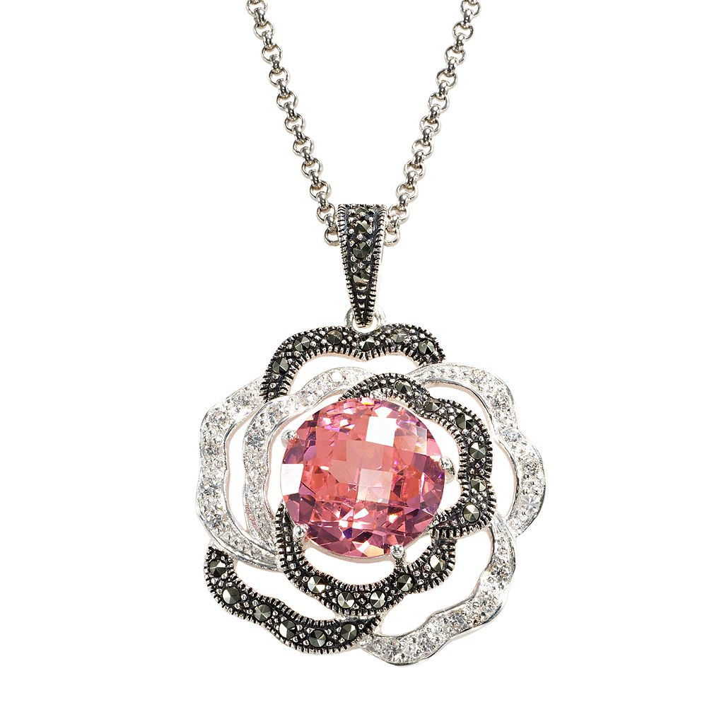 Lavish by TJM Sterling Silver Cubic Zirconia Flower Pendant Necklace