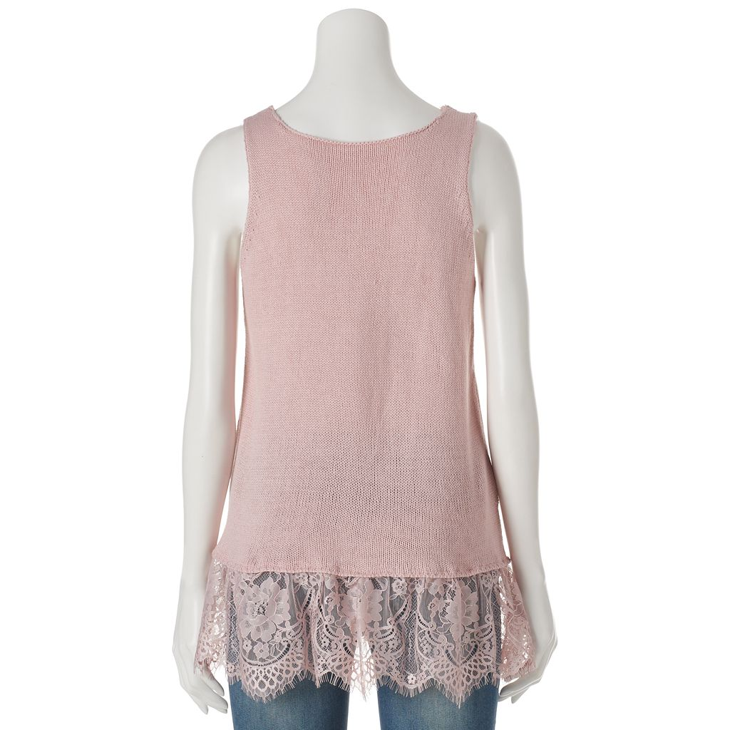 Juniors' Cloud Chaser Lace Sweater Tank