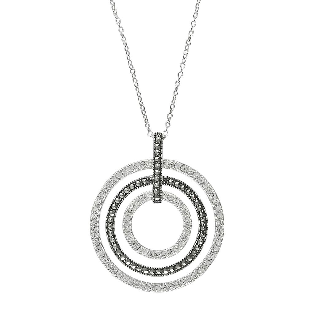 Lavish by TJM Sterling Silver Crystal Concentric Hoop Pendant Necklace