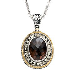Lavish by TJM Sterling Silver Smoky Quartz Frame Pendant Necklace