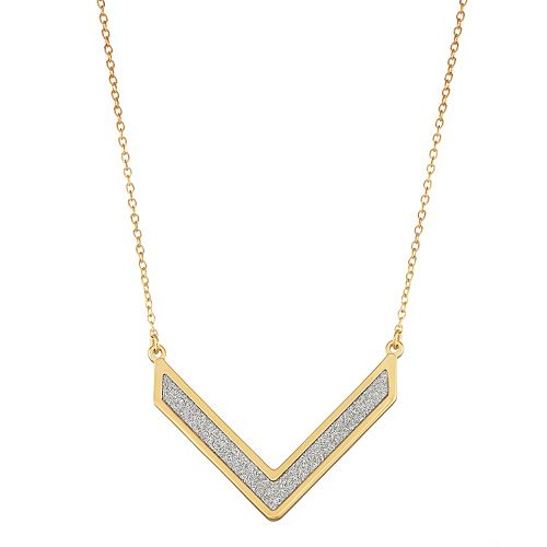 18k Gold Over Silver Glitter Chevron Necklace