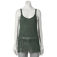 Juniors' Cloud Chaser Fringe Sweater Tank