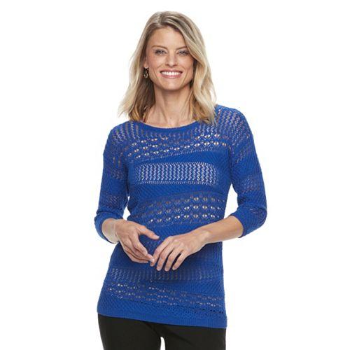 Petite Dana Buchman Openwork Sweater
