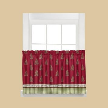 Saturday Knight, Ltd. Hometown Holiday Christmas Tree Tier Kitchen Curtain Set