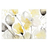 Artissimo Neutral Abstract Floral II Canvas Wall Art